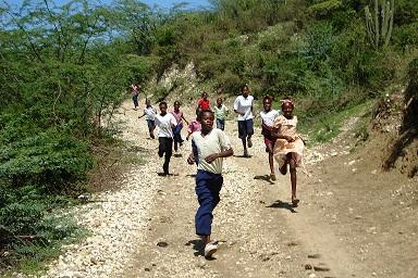 Children Running in Haiti