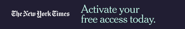 new york times banner which reads activate your free access today