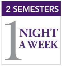 two semesters, one night a week