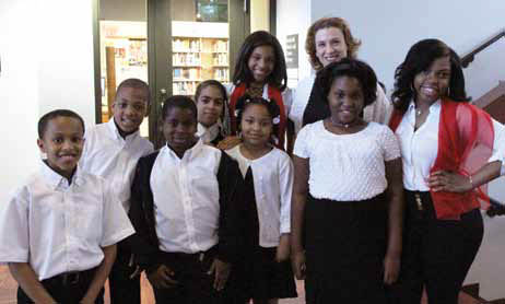 Kirsten with members of the Chester Children's Chorus.