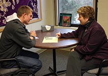 Shari Ayers counseling a student
