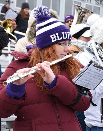 Musicians from all majors join in the Bluffton Univeristy Pep Band
