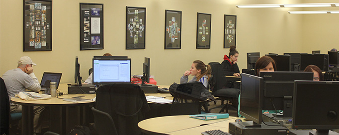 Students work in the technology center