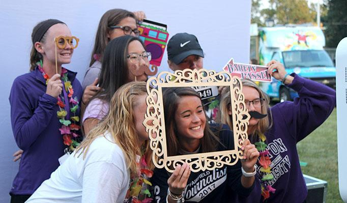 Students gather at the photo booth
