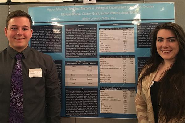 Nick Bondra '18 and Destiny Grant '19, presenting their research at an undergraduate research conference: