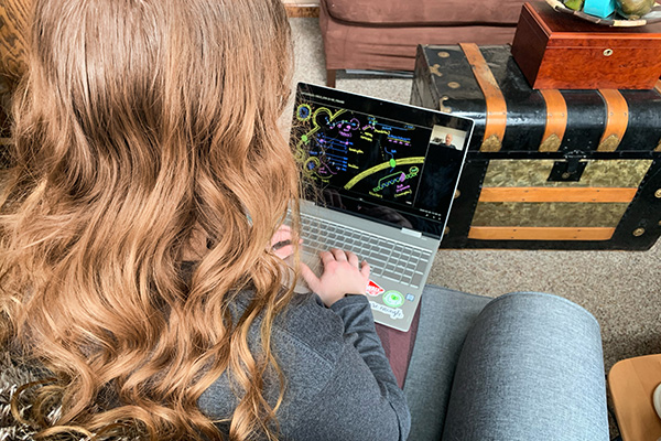 Kourtney Kretschmar, a sophomore nursing major from Greenville, Ohio, views a diagram designed by Dr. Will Krost, emergency department physician at St. Vincent Medical Center in Toledo, Ohio, depicting how the COVID-19 works. Students recently spoke with Krost and two Italian nurses via Zoom videoconferencing technology.