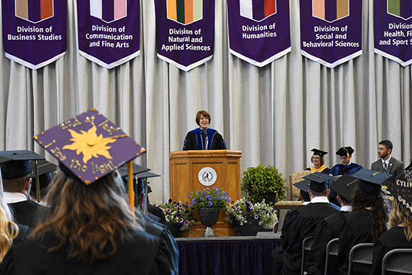 Nearly 3,000 faculty, family members and friends filled Sommer Center to witness the conferring of diplomas by President Jane M. Wood.