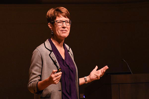 President Jane Wood presents the 2021 State of the University address.