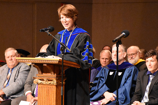 Dr. Jane Wood presents her inauguration address.