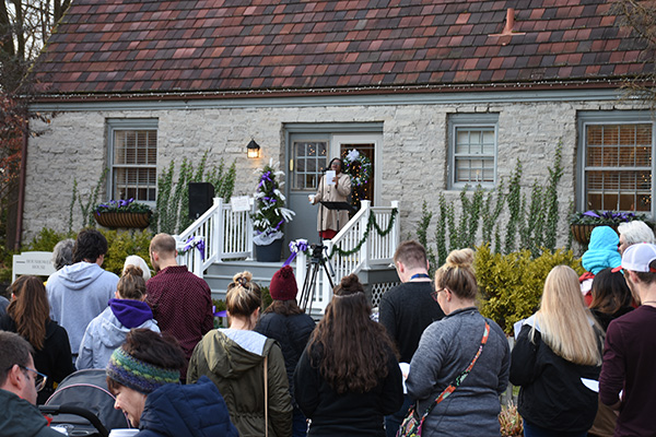 "Faculty, staff, students and community members gathered at Bluffton's Campus Welcome Center for ""Christmas at the Houshower House."""